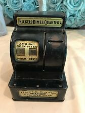 Vintage Uncle Sam's Coin Cash Register Mechanical Bank in Black with Gold Meta