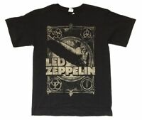 Led Zeppelin Burning Blimp Distressed Runes Images Black T Shirt New Official