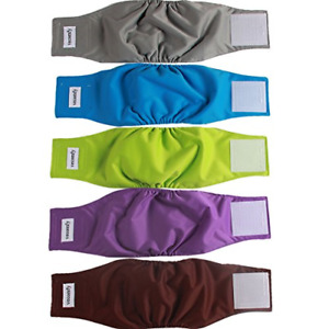 Lot 5 Vecomfy Washable Belly Bands Leakproof Reusable Diapers - Male Dog Puppy M