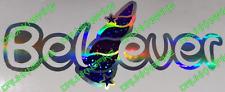 Believer Unicorn Horn Funny Car Sticker Dub Euro Oil Slick Glitter Fx Chrome