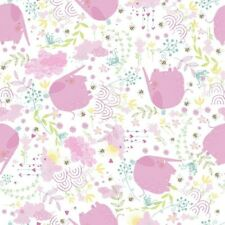 Fabric Baby Elephants Pink & Bees Coordinate on White Flannel 1/4 Yard