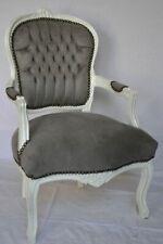Fauteuil de style Louis XV gris bois blanc