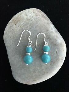 Genuine Turquoise Graduated Earrings 925 Sterling Silver Gift Bag - Free P&P