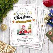 20 Personalised Xmas Christmas PHOTO Post Cards postcards baby kids pets