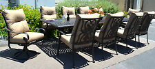 11 piece aluminum outdoor dining set patio chairs table Santa Anita bronze