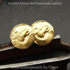 925 k Sterling Silver Horse Coin Stud Earrings Roman Fine Jewelry Omer Handmade
