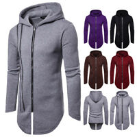 Men's Winter Slim Hoodie Warm Hooded Sweatshirt Long Jacket Coat Outwear Sweater