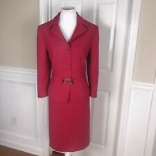 TAHARI Women 2 PC Pink Skirt Suit Size 14