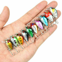 Hot 10Pcs Fishing Lures Kinds Of Minnow Fish Bass Tackle Hooks Baits Crankbait