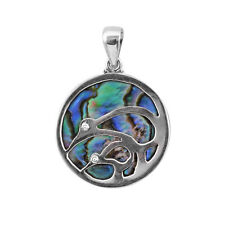 ABALONE PAUA SHELL BIRD Pendant in Sterling Silver 925 - 3.7 CM #N69