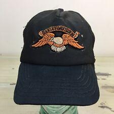 HARLEY DAVIDSON - Vtg 70s-80s Black Patch Distressed Mesh SnapBack Trucker Hat