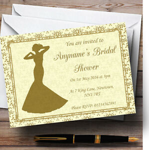 Gold Yellow Classic Personalised Bridal Shower Party Invitations