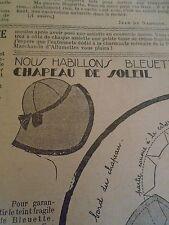 """PATRON ORIGINAL POUR LA POUPEE """" BLEUETTE CHAPEAU DE SOLEIL   JUILLET 1933"""