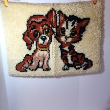 """Dog & Cat Latch Hook Rug Finished Wall Hanging 20"""" x 26"""""""