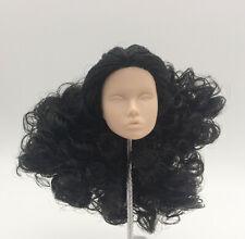 Fashion Royalty poppy parker japan skin wavy black hair integrity doll head OOAK