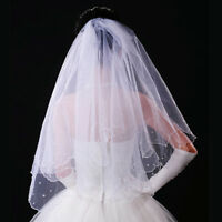 Romantic White Pearl Short Veil Bridal Elbow Satin Wedding Two-Layer Bride Veil