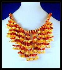 """NEW Genuine Yellow - tested - Baltic AMBER Dangling bib NECKLACE 18"""" hand-made"""