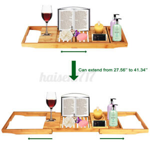 Expandable Bathtub Caddy Bamboo Bath Tub Rack Tray Book/Pad/Tablet Holde