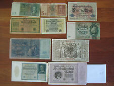 LOT OF 10 ANTIQUE GERMAN CIRCULATED BANKNOTES BANKNOTE CURRENCY 1910-1920 #8