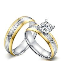 6MM Gold & Silver Lover's CZ Band Stainless Steel Wedding Couple Rings Size 5-12