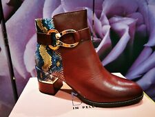 MODA IN PELLE Burgundy Snakeskin Leather Ankle Boots - Size 7 - BNIB