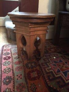 RARE Carved Wood Stool(s) Moorish Moroccan Arabic Arabesque Exotic Woods VTG