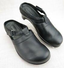 Aravon Black Leather Slip On Mule Clogs Strap Women's 8 D Wide Combination Last