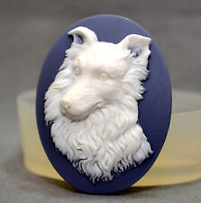 Dog Cameo Silicone Mold sugarcraft mould resin fimo polymer clay border collie