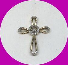 Sparkling 10k Yellow Gold Natural Diamond ZEI Cross Pendant Charm