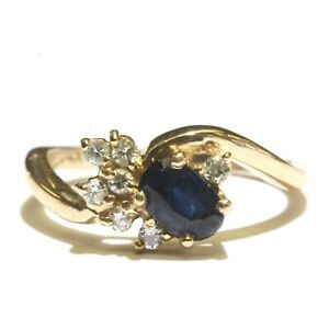 14k yellow gold .14ct SI2 H diamond sapphire gemstone ring band 2.8g estate