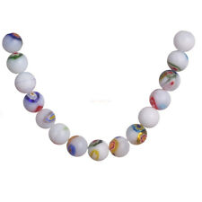 50Pcs White Jade 8MM Pretty Flower Round Glass DIY Spacer Loose Beads New Gift C