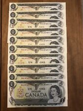 1973 Bank of Canada $1, Bc-46b, lot of 10 consecutively numbered bills