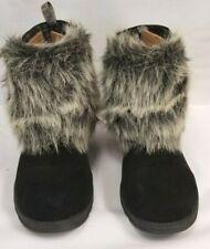 Women's Mukluk Black Leather Ankle Faux Fur Boots Mukluks Size 7