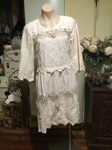 HEINE Musk Pink Bohemian Dress Light Weight Embroidered Trim Lace Cotton Size 40