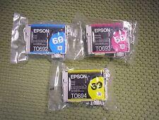 3 x GENUINE EPSON 69 Yellow Magenta Cyan Ink T069420 T069320 T06920 CX6000