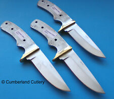 Lot of 3 Knife Making Blade Blanks with Brass Finger Guard Hunting Skinning