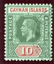 Cayman Island 1914 KGV 10s deep green & red/green VF used. SG 52. Sc 44a.