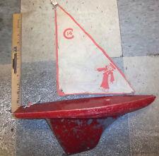 Vintage Large Pond toy Boat, wood boat, metal keel, cloth sail with sailor logo