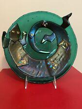 Handmade Glass Plate Lizard *Artist Signed* 9�*Stand Included * Beautiful*