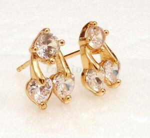Women Girl 18K Yellow Gold Plated Cubic Crystal Clear Cherry Stud Earrings UK