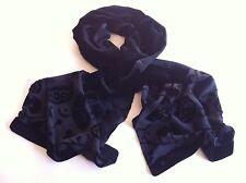 MAXMARA Silk Velvet Long Scarf Devore Detail Black Lined Made in Italy Exc.Cond