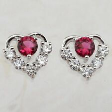 Crazy Hot Sweet Heart Ruby Red Gems Jewelry Gold Filled Lady Stud Earrings H1487