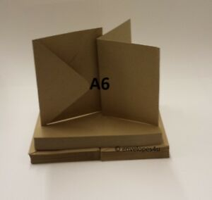 100% Natural Recycled Kraft A6 / C6 card blanks and envelopes 280gsm Free P&P