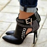 Womens Rhinestones Punk Buckle Ankle Boots High Heel Pointed Toe Stiletto Shoes