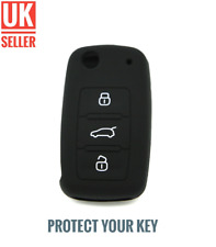 Black Silicone Flip Key Cover Fob For SKODA OCTAVIA FABIA SUPERB CITIGO /-ch1d-/