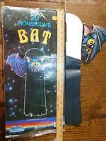 "RARE! Vintage TopStone  Halloween Hanging 20"" BAT Honeycomb  Paper Decoration"