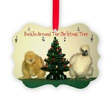 Christmas Ornament ~ Silkie Chicken Hens Rockin' Round the Christmas Tree