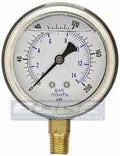 "LIQUID FILLED PRESSURE GAUGE 0-200 PSI, 2.5"" FACE, 1/4"" NPT LOWER MOUNT WOG"
