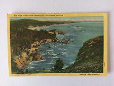 Oregon Vintage colour Postcard c1950 View from Otter Crest, Otter Rock