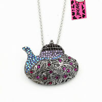 Betsey Johnson Vintage Crystal Teapot Pendant Chain Necklace/Brooch Pin Gift